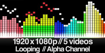 Videohive - 5 Audio Equalizer Videos - Straight Bars - LOOPED